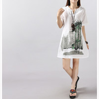 female maternity dress ink and wash painting long linen clothes for pregnant women