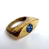 Drusy Deluxe: Brass Cleopatra Ring with Blue Drusy