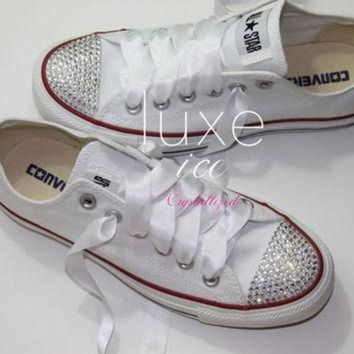CREYUG7 Converse All Star Chucks Adult Sizes White w CRYSTAL clear Swarovski  Elements b7be4d0d50