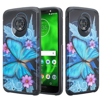Motorola Moto G6 , Moto G6 2018 Case, Slim Hybrid Dual Layer [Shock Resistant] Case Cover for Moto G6 - Blue Butterfly