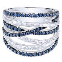 Gabriel Blue Sapphire Right Hand Wave Ring in Sterling Silver