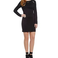 Guess Stud-Trimmed Long-Sleeve Dress - Black