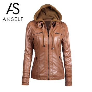 Trendy Anself 7XL Plus Size Coat Black Winter Pu Faux Leather Jacket Women Long Sleeve Hooded Motorcycle Jacket Ladies Zipper Outerwear AT_94_13