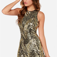 Dress the Population Mia Black and Gold Sequin Dress