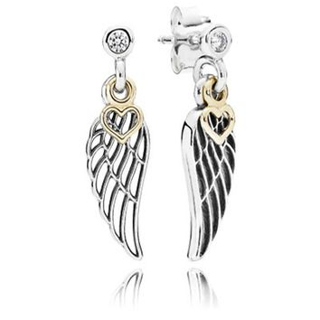 LOVE AND GUIDANCE ANGEL WING & DANGLE HEART Stud Earrings CZ 925 Sterling Silver Compatible with Europe Jewelry