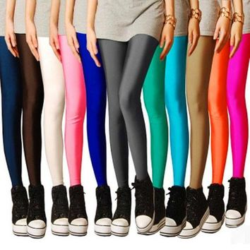 DCCKH6B 2017 Candy Neon leggings Workout Leggings Women push up Pants Jeggings Elastic Seamless stretched Shiny pants All Colors