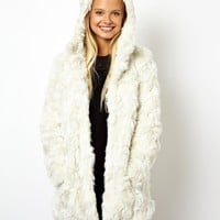 ASOS Curly Faux Fur Coat With Cat Ears
