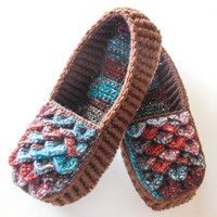 Brown Crochet House Slippers - Men and Women Sizes - Southwest Colors - Crocodile Stitch Loafers With Hemp Soles - Made to Order