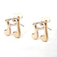 SMALL Crotchet Musical Note Stud Earrings in Light Bronze