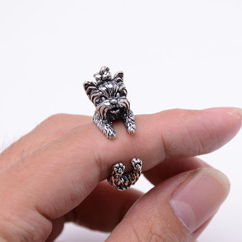 Resizable Vintage 3D Animal Rings Hippie Brass Midi Knuckles Rings Retro  Bronze Dog Ring For Women Fashion Jewelry  FA8004