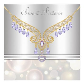 Amethyst Diamonds Champagne Bokeh Sweet Sixteen