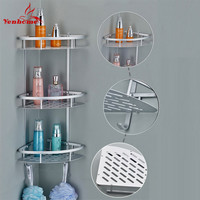2016 Space aluminum Bathroom Shelf Three Layer Wall Mounted Shower Shampoo Soap Cosmetic Bathroom Shelves Bathroom Accessories