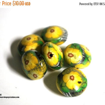On Sale Handmade Polymer Clay Beads Yellow Flower on a Black Round Lentil Polyclay Bead DIY Jewelry