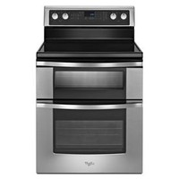Shop Whirlpool 30-in Smooth Surface 5-Element 4.2-cu ft/2.5-cu ft Self-Cleaning Double Oven Electric Range (Stainless Steel) at Lowe's
