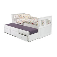 Chelsea Home Twin Mission Bed w/ Trundle & Storage in White