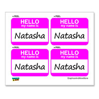 Natasha Hello My Name Is - Sheet of 4 Stickers