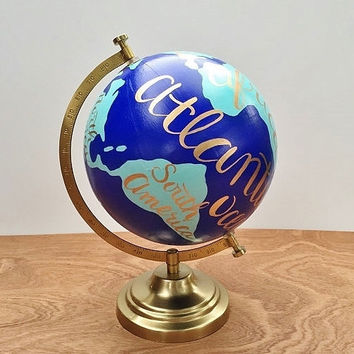 Hand painted globe, world globe, hand lettered travel globe, office decor