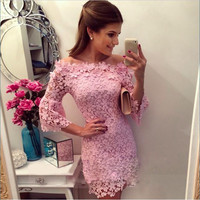 Lace O-neck Sleeveless Short Sleeve Short Dress