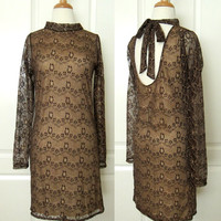 Beautiful Brown Floral Lace Backless Bow Long Sleeves Formal Dress