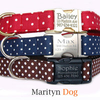 Swiss dots ID dog collar Personalized dog tag Metal ID buckle dog collars Brown Navy Red dots collar Cute girl dog collar Pet ID tag