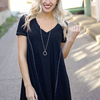 Black Loose V Neck Dress