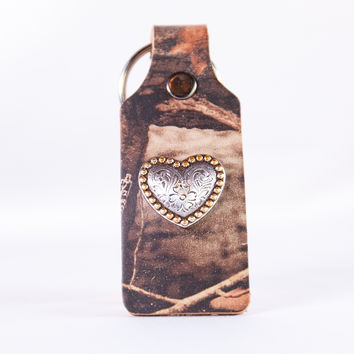 Real Tree Camo Leather Keychain with Heart