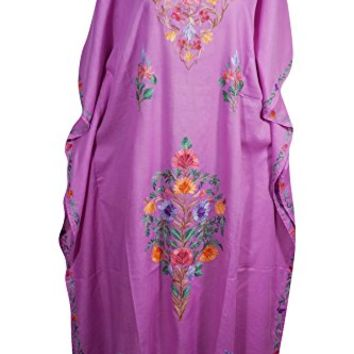 Mogul Womens Caftan Kashmiri Floral Embroidered Cotton Kaftan Maxi Dress (Pink 1)