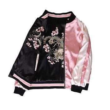 Floral Embroidery  bomber jacket women Harajuku pilot jacket 2017 casual  basic jackets coat