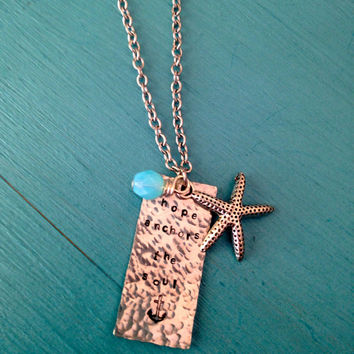 Beach Jewelry - Hope Anchors the Soul Necklace - Mermaid - Surf - Waves - Starfish -  Hand Stamped Ocean Inspired - gifts for her
