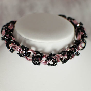 Pink and Black Luxury Chainmaille Cat / Small Dog Collar with Safety Clasp - Ready to Ship