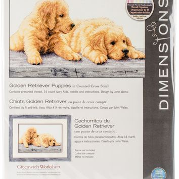 "Golden Retriever Puppies (14 Count) Dimensions Counted Cross Stitch Kit 14""X9"""