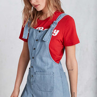BDG Andy Button-Front Tie-Strap Blue Dungarees - Urban Outfitters