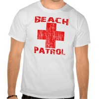 BEACH PATROL Distressed Red Logo Lifeguard Shirt from Zazzle.com