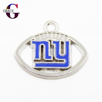 New York Giants Football Sport Team Charms Floating Charms Hanging Dangle Charms For Women Necklace Bracelet bangle DIY Jewelry