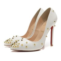 CL Christian Louboutin Women Rivet Pointed Toe Heels Shoes-2
