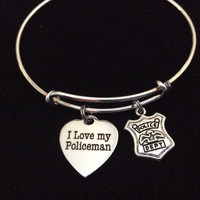 I Love My Policeman on Expandable Adjustable Wire Bangle Bracelet Occupational Police Badge Department Wife Gift