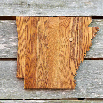 Arkansas state shape wood cutout map sign wall art w/star.  Handcrafted, repurposed Oak flooring 14x17 in. Country Cabin Rustic Gift Decor