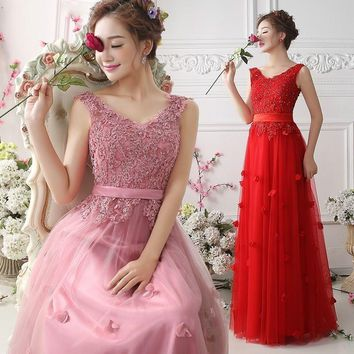 robe de soriee High Quality 2017 Long Bridesmaid Dress V-neck Tulle Party Dress Vestido De Festa Maid of Honor Dress