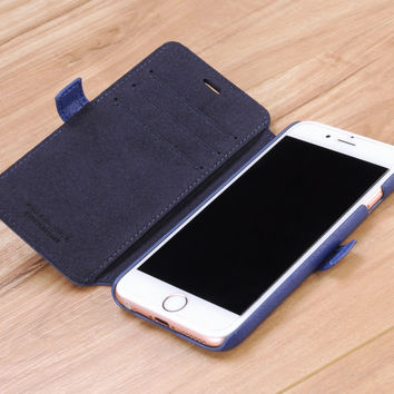 Blue Napa Genuine Leather Book Style Wallet Case for Apple iPhone 6 / 6s
