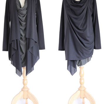 Asymmetrical Layered Top / Wrap Sweatshirt / Long Slouchy Wrap Cardigan - Black Tunic / Light Jacket / Unique Black Cardigan Sweater