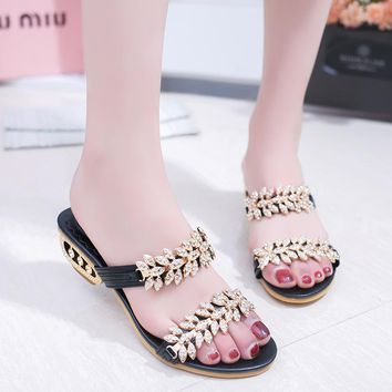 Crystal Open Toe Low Chunky Heel Sandals Slippers