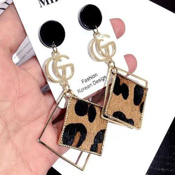 GUCCI Fashion Women Cool GG Letter Leopard Grain Square Pendant Earrings Accessories Jewelry