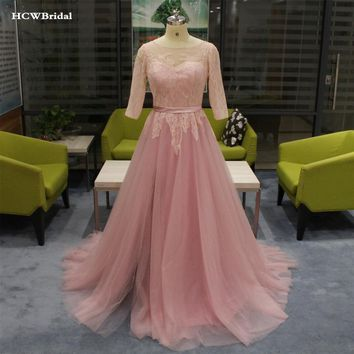 Blush Tulle Lace Evening Dress Backless Half Sleeve A Line Long Elegant Formal Dresses 2019 Custom Made Wedding Party Gown Cheap