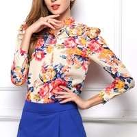 Colorful Floral Chiffon Shirt - OASAP.com