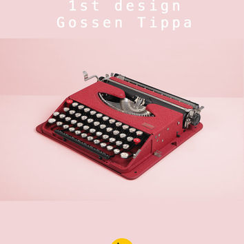 RESERVED /// Rare 1950 Gossen Tippa Typewriter. Restored & in fully working conditon. Ultra portable. Red. West Germany. With Case.
