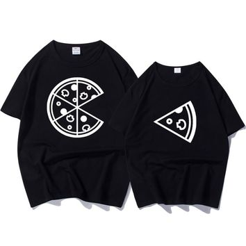 New Arrinal Fashion women and men T-shirt Pizza Printesd Funny T Shirt Women Loose Summer Top Couple T-shirt for Lovers Tee