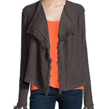 Nalah B Boucle Knit Jacket, Charcoal, Size: