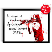 Daryl Dixon Watercolor Art Print, Cotton canvas print, Home decor poster The Walking dead, Painting Giclee Illustration