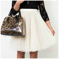 Just Dance Cream Tulle Skirt