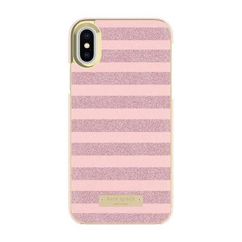 ONETOW kate spade new york Wrap Case for iPhone X - Glitter Stripe Rose Quartz Saffiano/Rose Gold Glitter